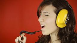 Music woman red headphones singing Footage