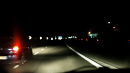 Night driving POV highway blurred Footage