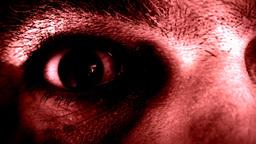 Old man eyes inspecting macro red Footage