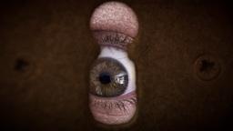 Old man zombie eye macro scary keyhole Footage