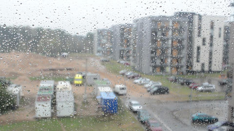 water drops on glass and blur flat house view Footage