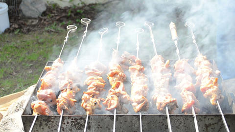fresh natural chicken meat shashlik bake steel spit smoke rise Footage