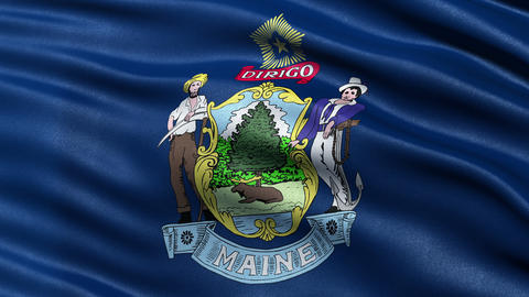 4K Maine state flag seamless loop Ultra-HD Animation