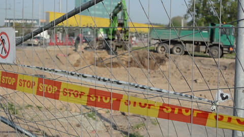 stop line bar excavator dig dirt truck construction site Footage