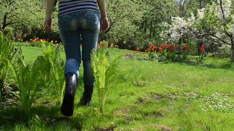 Crumpet Woman Walk In Awesome Spring Garden Flowers Trees stock footage