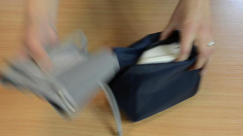 Nurse hands take pressure check tool from bag prepare for work Footage