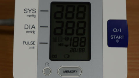 blood pressure measure tool electronic screen and numbers vary Footage