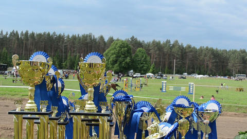 Steeplechase Horse Race Cups Awards Prepared For Winners stock footage