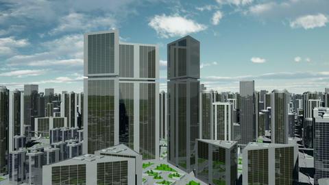 Futuristic Capital City Flight Animation
