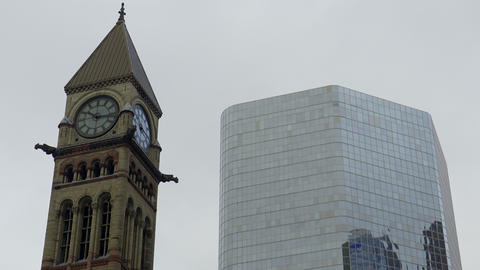 Clock Tower In The City. 4K UHD stock footage