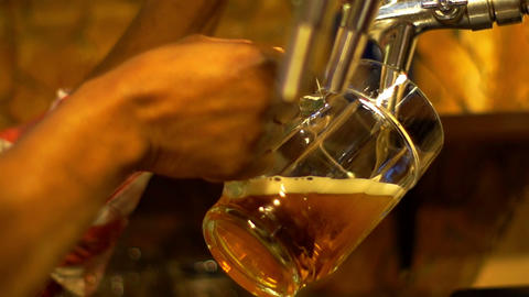 Bartender Pours a Beer Footage