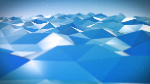 Live Pulsing Low Poly Environment Blue 4K Animation