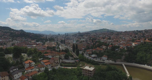 Aerial Shot Of Old Town Of Sarajevo And The National And University Library stock footage