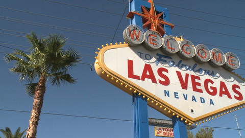 Welcome to Las Vegas sign - pan right (1 of 2) Footage