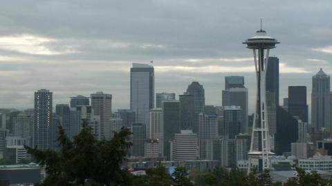 Downtown Seattle morning - pan Footage