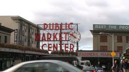 Pike Place Market entrance Footage