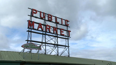Pike Place Market sign Footage