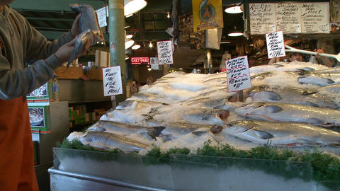 Famous fish toss at Pike Place Market Footage