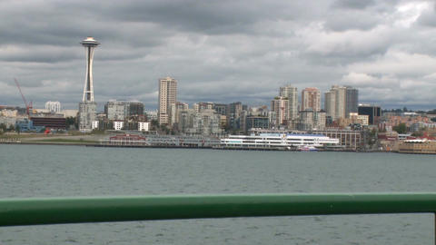 View of Space Needle from ferry Footage