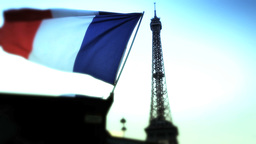 French flag in Paris With Eiffel Tower Footage