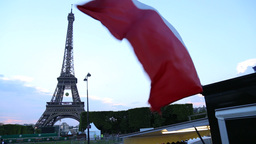 French flag with The Eiffel In Paris Footage