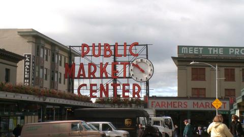 Visitors enter Pike Place Market Footage