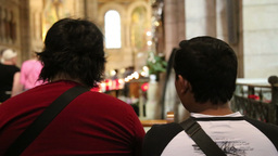 People Sitting In A Church stock footage