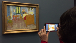 People Take Picture Of Van Gogh Room Painting stock footage