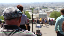 Senior Man View Paris From Sacre Coeur stock footage