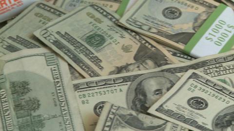 Pile of cash - pan (7 of 7) Footage