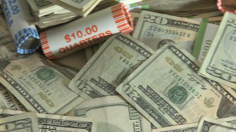 Pile of cash - pan (6 of 7) Footage