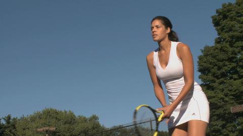 Female tennis player practices return Footage