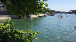 Time Lapse Of Seine River In Paris stock footage