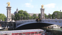 Tourist Boat Under Alexandre Bridge In Paris stock footage