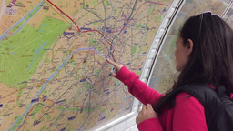 Tourist Search The Map Of Paris In The Matro Station stock footage