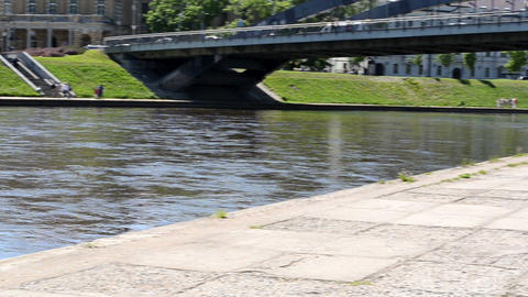 vilnius city center fragment. neris river flow ship moored Footage