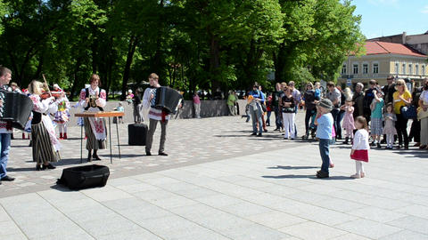 ukrainian folk musicians dancer singers entertaining people Footage