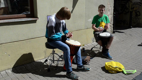 kids with drums play rhythm outdoor. street music day Footage