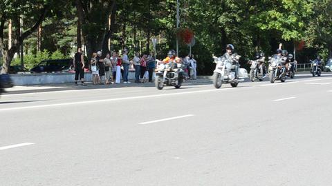 bikers birzai bike festival in central vytautas street Footage