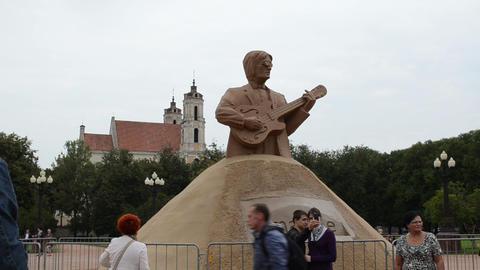 john lennon beatles leader statue people vilnius lukiskiu square Footage