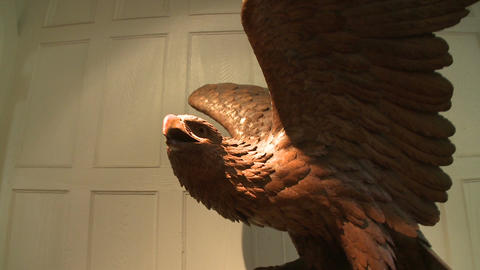 Carved wooden eagle inside museum Live Action