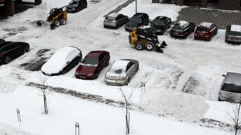 tractor excavator work clean winter snow block house parking Footage