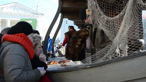 people buy natural fish ship imitation market fair cathedral Stock Video Footage