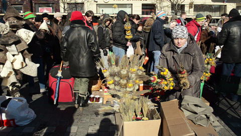 woman sell palm natural object spring event market fair... Stock Video Footage