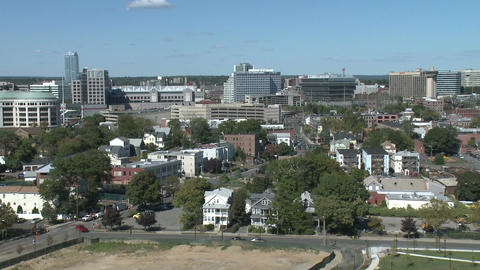 Aerial View of City of Stamford (1 of 9) Stock Video Footage
