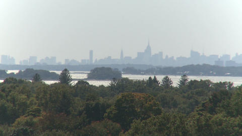 View of Manhattan skyline from Stamford (1 of 3) Stock Video Footage