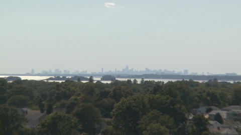 View of Manhattan skyline from Stamford (3 of 3) Stock Video Footage