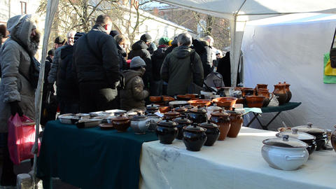 people handmade crockery craft pots sell spring fair market Footage