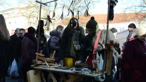 people buy wooden craft goods spring fair national handmade Footage