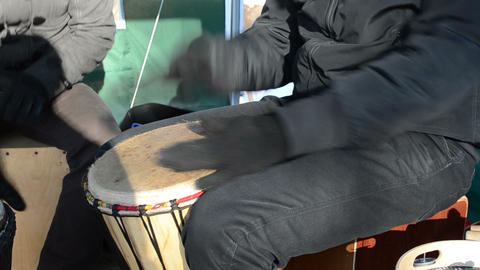 musician young play wooden handmade drum outdoor spring... Stock Video Footage